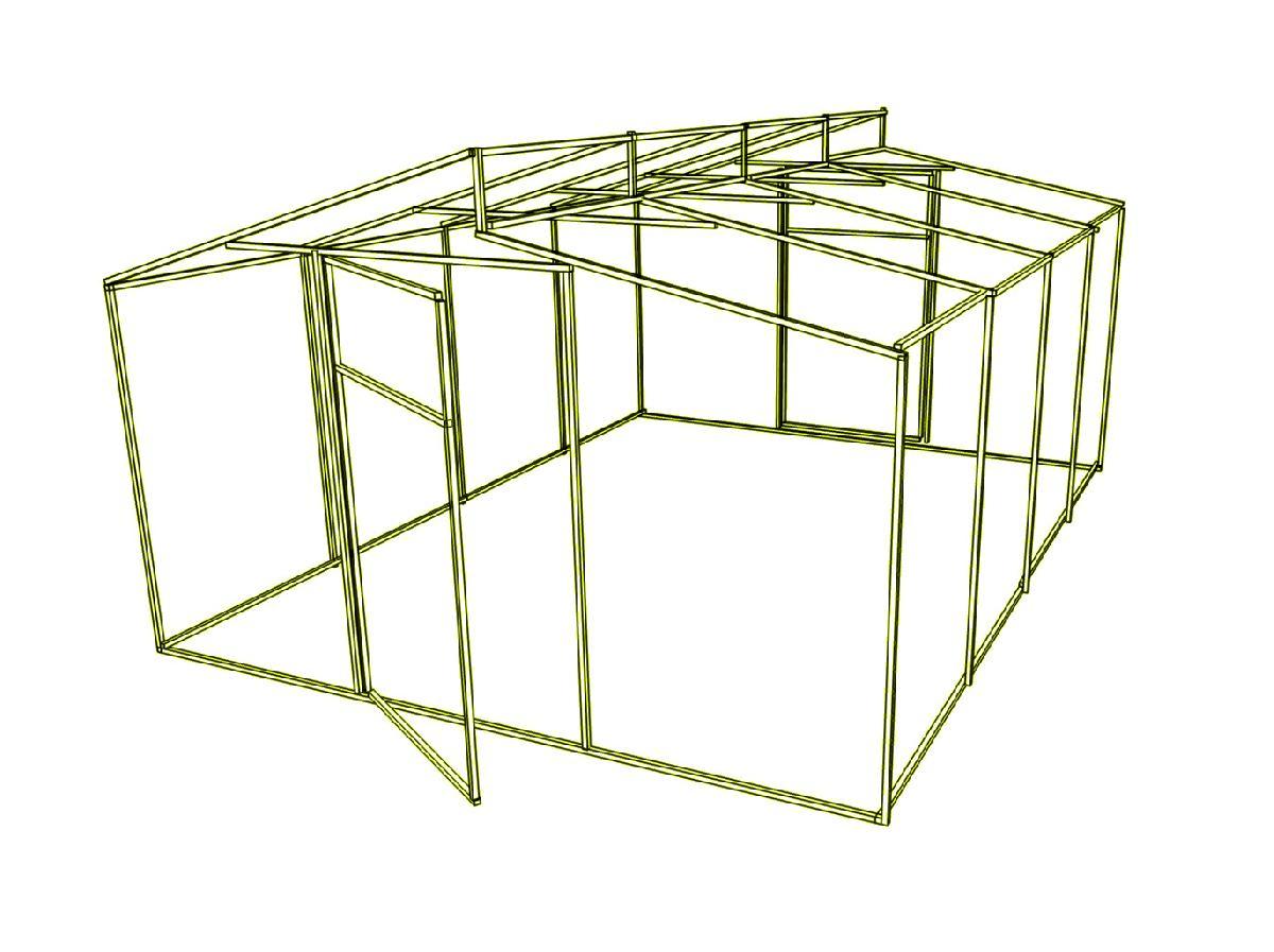 Доп. секция на каркас  теплицы Митлайдера (без поликарбоната) 300x200x235см